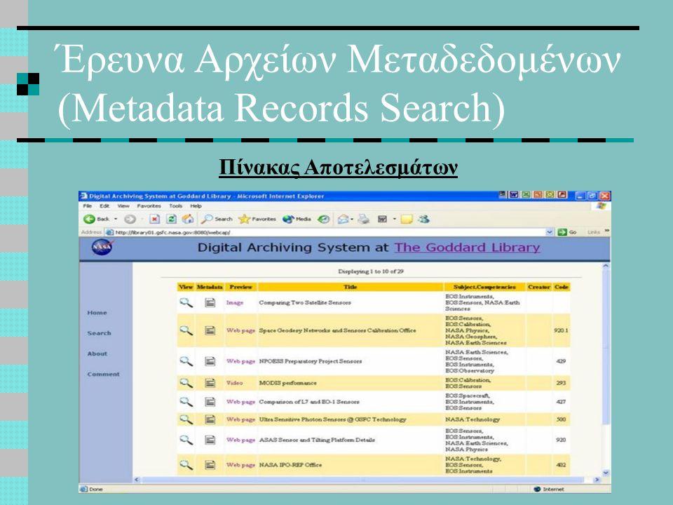 Έρευνα Αρχείων Μεταδεδομένων (Metadata Records Search) Πίνακας Αποτελεσμάτων
