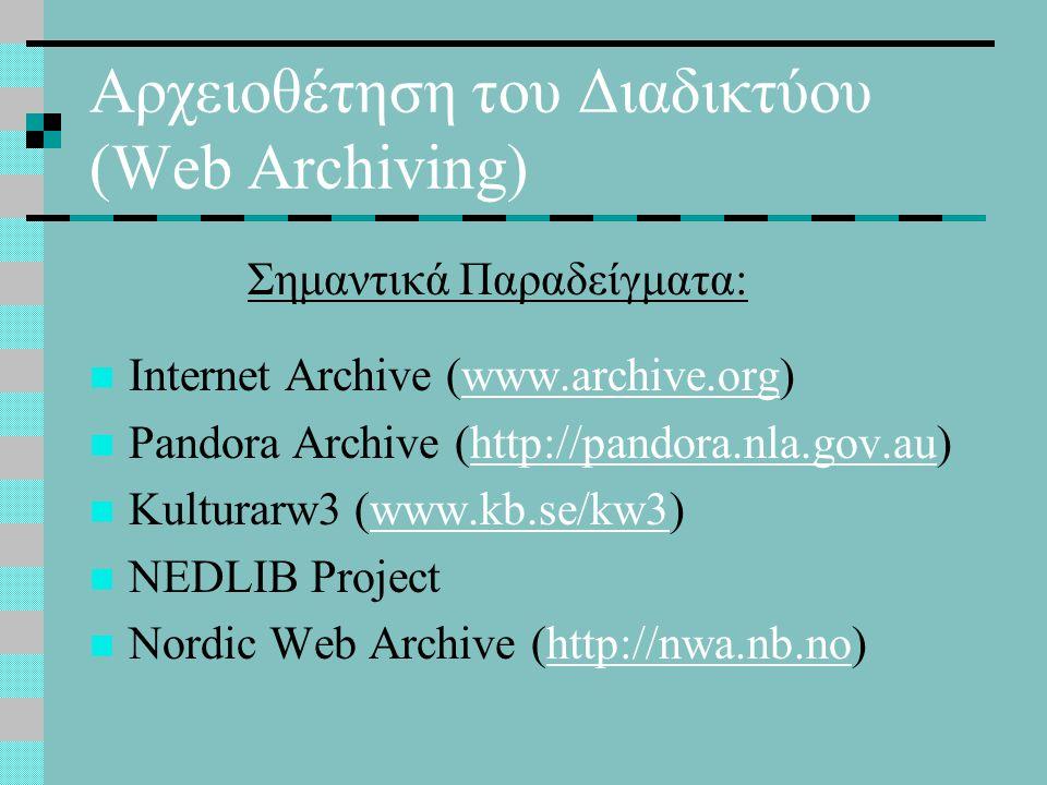 Αρχειοθέτηση του Διαδικτύου (Web Archiving) Internet Archive (www.archive.org)www.archive.org Pandora Archive (http://pandora.nla.gov.au)http://pandora.nla.gov.au Kulturarw3 (www.kb.se/kw3)www.kb.se/kw3 NEDLIB Project Nordic Web Archive (http://nwa.nb.no)http://nwa.nb.no Σημαντικά Παραδείγματα: