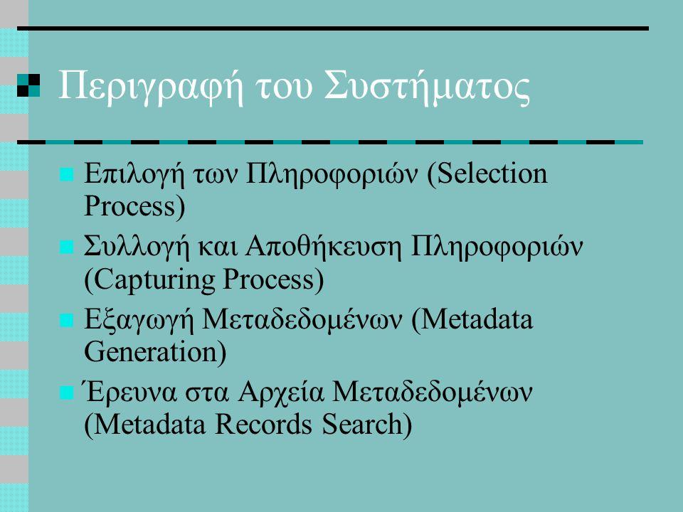 Περιγραφή του Συστήματος Επιλογή των Πληροφοριών (Selection Process) Συλλογή και Αποθήκευση Πληροφοριών (Capturing Process) Εξαγωγή Μεταδεδομένων (Metadata Generation) Έρευνα στα Αρχεία Μεταδεδομένων (Metadata Records Search)
