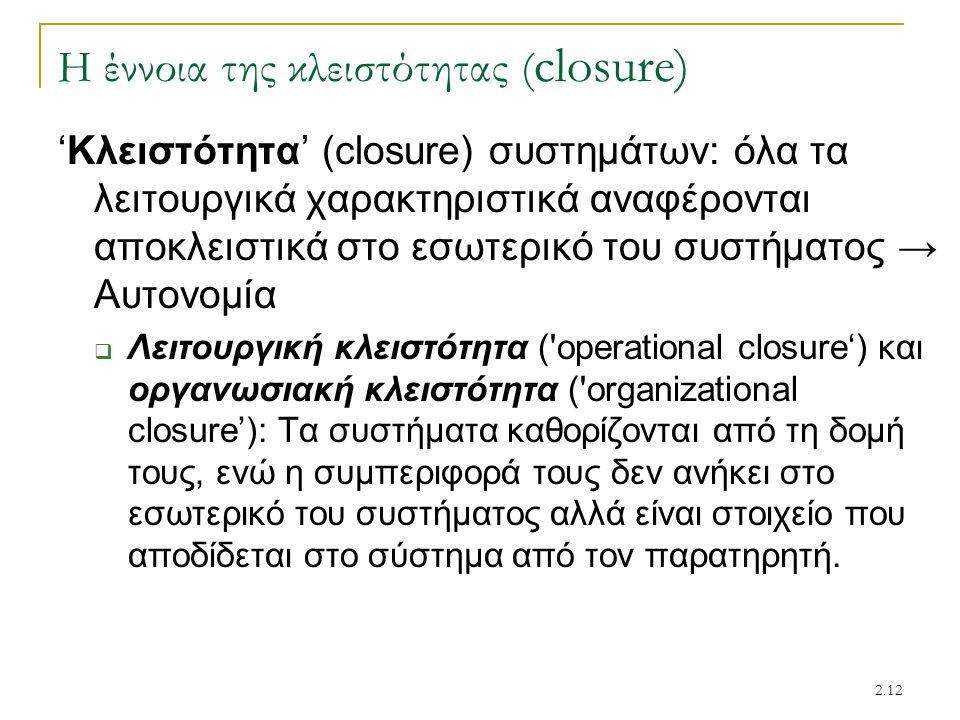 2.12 Η έννοια της κλειστότητας ( closure) 'Κλειστότητα' (closure) συστημάτων: όλα τα λειτουργικά χαρακτηριστικά αναφέρονται αποκλειστικά στο εσωτερικό