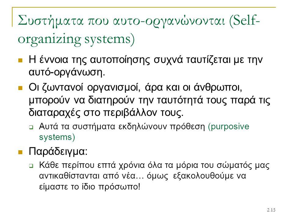 2.15 Συστήματα που αυτο-οργανώνονται (Self- organizing systems) Η έννοια της αυτοποίησης συχνά ταυτίζεται με την αυτό-οργάνωση. Οι ζωντανοί οργανισμοί