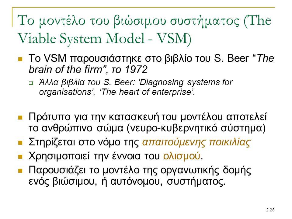 """2.28 Το μοντέλο του βιώσιμου συστήματος (The Viable System Model - VSM) Το VSM παρουσιάστηκε στο βιβλίο του S. Beer """"Τhe brain of the firm"""", το 1972 """