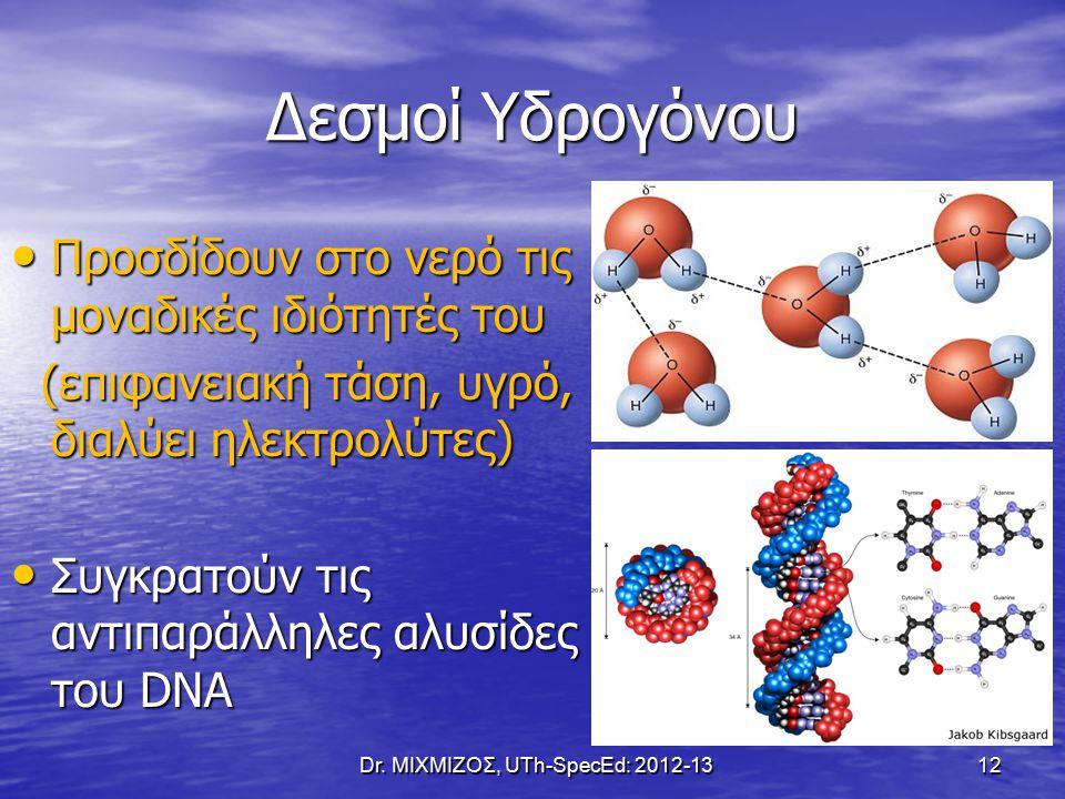 Δεσμοί Υδρογόνου Προσδίδουν στο νερό τις μοναδικές ιδιότητές του Προσδίδουν στο νερό τις μοναδικές ιδιότητές του (επιφανειακή τάση, υγρό, διαλύει ηλεκτρολύτες) (επιφανειακή τάση, υγρό, διαλύει ηλεκτρολύτες) Συγκρατούν τις αντιπαράλληλες αλυσίδες του DNA Συγκρατούν τις αντιπαράλληλες αλυσίδες του DNA Dr.