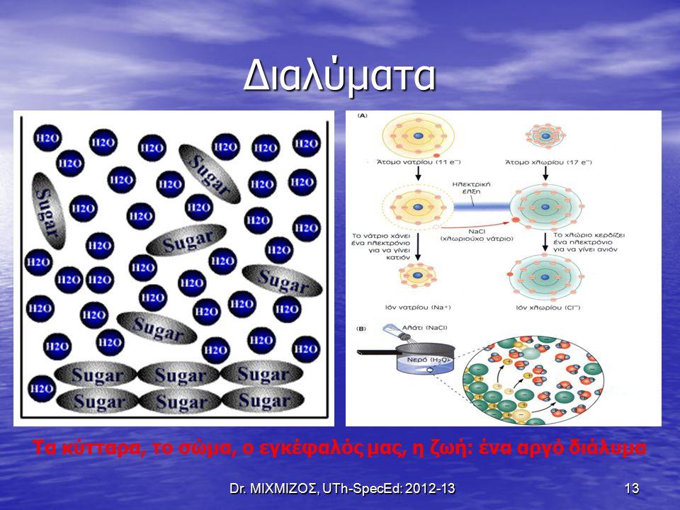 Διαλύματα Dr. ΜΙΧΜΙΖΟΣ, UTh-SpecEd: 2012-13 13 Τα κύτταρα, το σώμα, ο εγκέφαλός μας, η ζωή: ένα αργό διάλυμα
