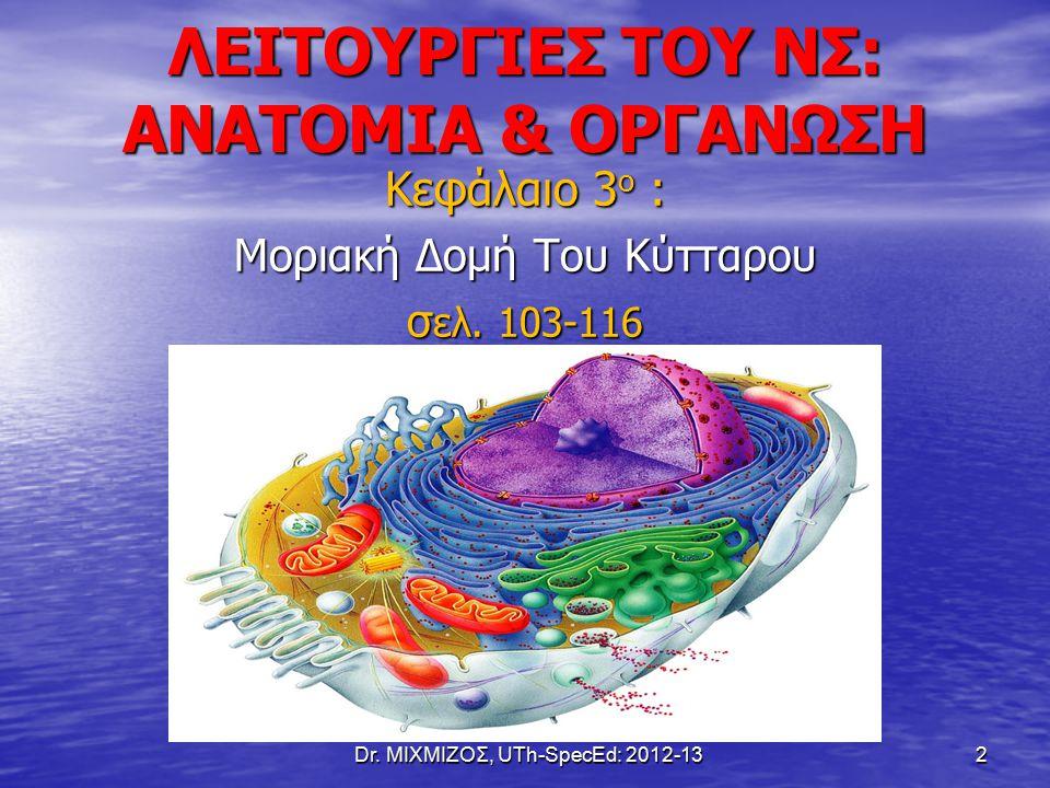 ΛΕΙΤΟΥΡΓΙΕΣ ΤΟΥ ΝΣ: ΑΝΑΤΟΜΙΑ & ΟΡΓΑΝΩΣΗ Κεφάλαιο 3 ο : Μοριακή Δομή Του Κύτταρου σ ελ. 103-116 Dr. ΜΙΧΜΙΖΟΣ, UTh-SpecEd: 2012-13 2