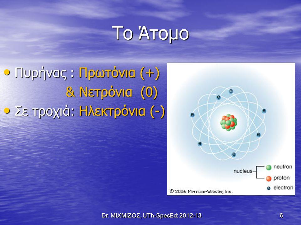Το Άτομο Πυρήνας : Πρωτόνια (+) Πυρήνας : Πρωτόνια (+) & Νετρόνια (0) & Νετρόνια (0) Σε τροχιά: Ηλεκτρόνια (-) Σε τροχιά: Ηλεκτρόνια (-) Dr.
