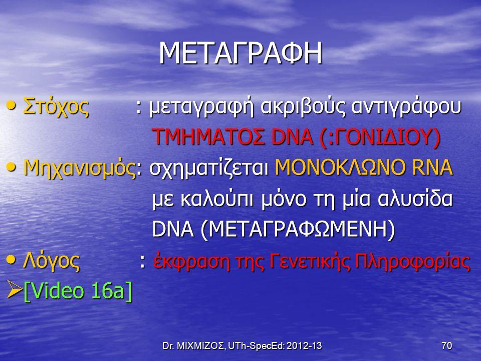 ΜΕΤΑΓΡΑΦΗ Στόχος : μεταγραφή ακριβούς αντιγράφου Στόχος : μεταγραφή ακριβούς αντιγράφου ΤΜΗΜΑΤΟΣ DNA (:ΓΟΝΙΔΙΟΥ) ΤΜΗΜΑΤΟΣ DNA (:ΓΟΝΙΔΙΟΥ) Μηχανισμός: σχηματίζεται ΜΟΝΟΚΛΩΝΟ RNA Μηχανισμός: σχηματίζεται ΜΟΝΟΚΛΩΝΟ RNA με καλούπι μόνο τη μία αλυσίδα με καλούπι μόνο τη μία αλυσίδα DNA (ΜΕΤΑΓΡΑΦΩΜΕΝΗ) DNA (ΜΕΤΑΓΡΑΦΩΜΕΝΗ) Λόγος : έκφραση της Γενετικής Πληροφορίας Λόγος : έκφραση της Γενετικής Πληροφορίας  [Video 16a] Dr.