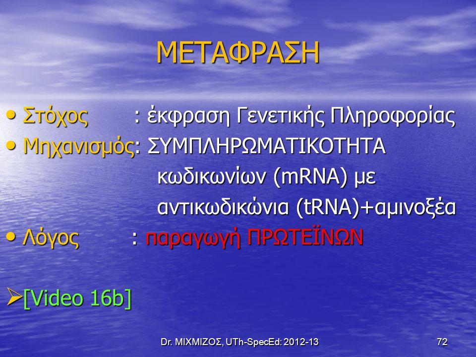 ΜΕΤΑΦΡΑΣΗ Στόχος : έκφραση Γενετικής Πληροφορίας Στόχος : έκφραση Γενετικής Πληροφορίας Μηχανισμός: ΣΥΜΠΛΗΡΩΜΑΤΙΚΟΤΗΤΑ Μηχανισμός: ΣΥΜΠΛΗΡΩΜΑΤΙΚΟΤΗΤΑ κωδικωνίων (mRNA) με κωδικωνίων (mRNA) με αντικωδικώνια (tRNA)+αμινοξέα αντικωδικώνια (tRNA)+αμινοξέα Λόγος : παραγωγή ΠΡΩΤΕΪΝΩΝ Λόγος : παραγωγή ΠΡΩΤΕΪΝΩΝ  [Video 16b] Dr.