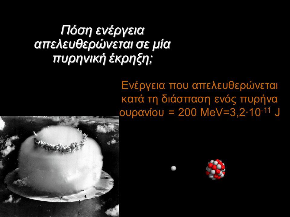 Πόση ενέργεια απελευθερώνεται σε μία πυρηνική έκρηξη; Ενέργεια που απελευθερώνεται κατά τη διάσπαση ενός πυρήνα ουρανίου = 200 MeV=3,2·10 -11 J