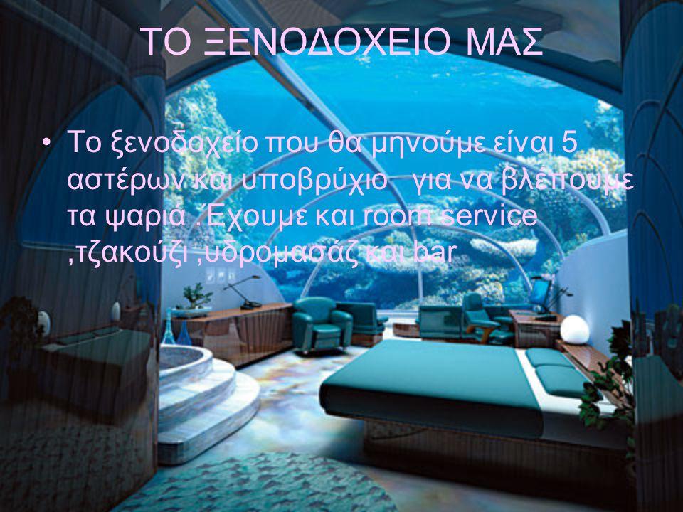 ΤΟ ΞΕΝΟΔΟΧΕΙΟ ΜΑΣ Το ξενοδοχείο που θα μηνούμε είναι 5 αστέρων και υποβρύχιο για να βλέπουμε τα ψαριά.Έχουμε και room service,τζακούζι,υδρομασάζ και b