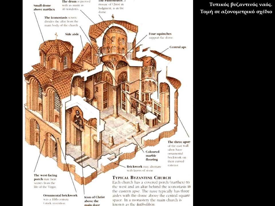 Τυπικός βυζαντινός ναός. Τομή σε αξονομετρικό σχέδιο