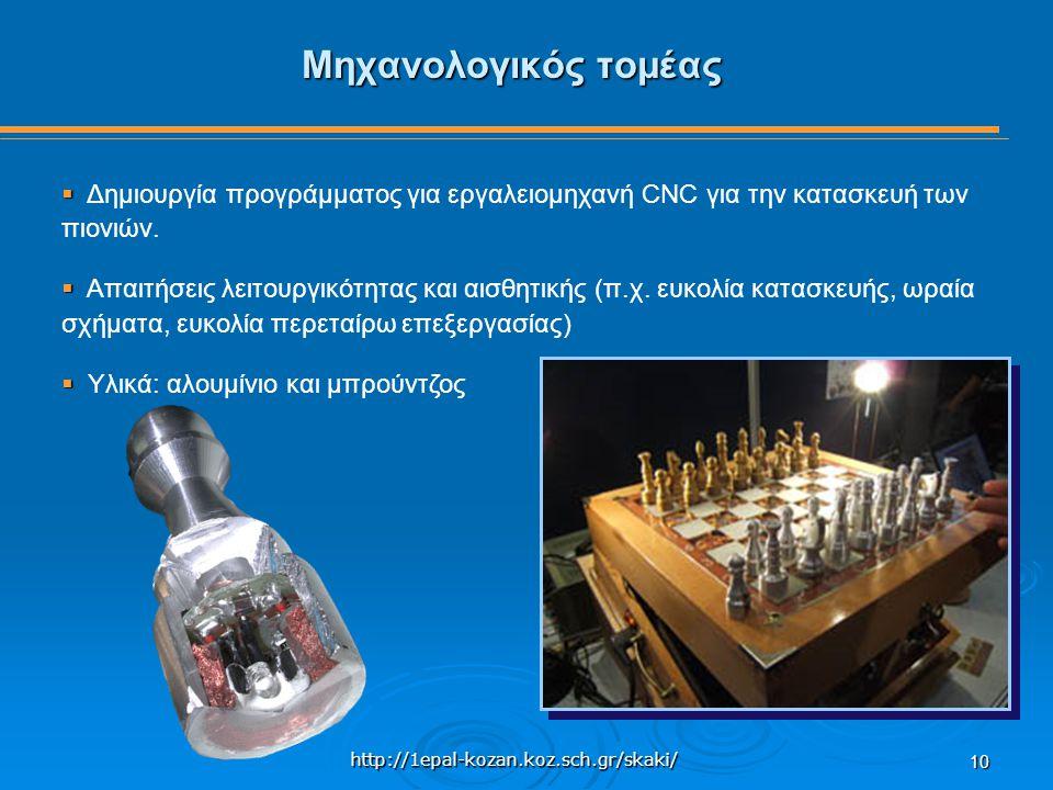 http://1epal-kozan.koz.sch.gr/skaki/ 10 Μηχανολογικός τομέας   Δημιουργία προγράμματος για εργαλειομηχανή CNC για την κατασκευή των πιονιών.   Απα