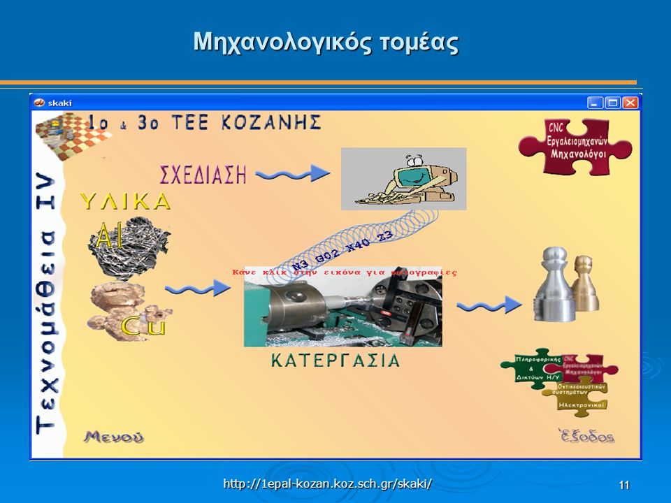 http://1epal-kozan.koz.sch.gr/skaki/ 11 Μηχανολογικός τομέας