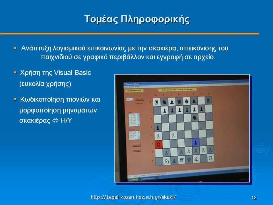 http://1epal-kozan.koz.sch.gr/skaki/ 12 Τομέας Πληροφορικής   Ανάπτυξη λογισμικού επικοινωνίας με την σκακιέρα, απεικόνισης του παιχνιδιού σε γραφικό περιβάλλον και εγγραφή σε αρχείο.