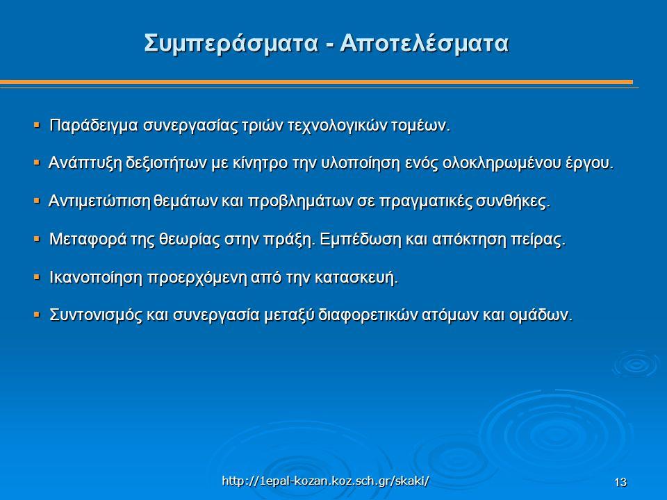 http://1epal-kozan.koz.sch.gr/skaki/ 13 Συμπεράσματα - Αποτελέσματα  Παράδειγμα συνεργασίας τριών τεχνολογικών τομέων.  Ανάπτυξη δεξιοτήτων με κίνητ