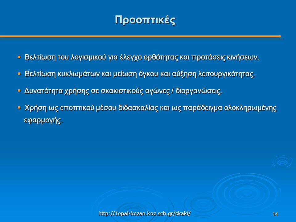 http://1epal-kozan.koz.sch.gr/skaki/ 14 Προοπτικές  Βελτίωση του λογισμικού για έλεγχο ορθότητας και προτάσεις κινήσεων.  Βελτίωση κυκλωμάτων και με