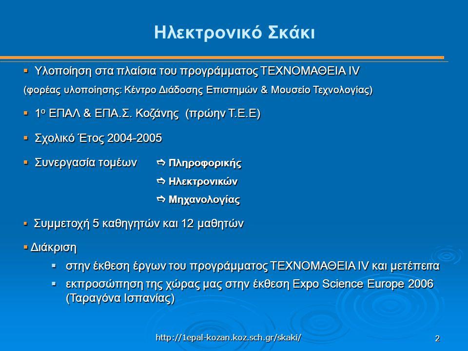 http://1epal-kozan.koz.sch.gr/skaki/ 2 Ηλεκτρονικό Σκάκι  Υλοποίηση στα πλαίσια του προγράμματος ΤΕΧΝΟΜΑΘΕΙΑ IV (φορέας υλοποίησης: Κέντρο Διάδοσης Επιστημών & Μουσείο Τεχνολογίας)  1 ο ΕΠΑΛ & ΕΠΑ.Σ.
