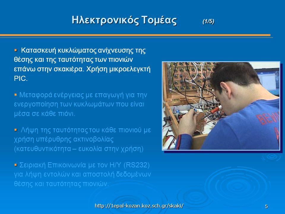 http://1epal-kozan.koz.sch.gr/skaki/ 5 Ηλεκτρονικός Τομέας (1/5)   Κατασκευή κυκλώματος ανίχνευσης της θέσης και της ταυτότητας των πιονιών επάνω στην σκακιέρα.
