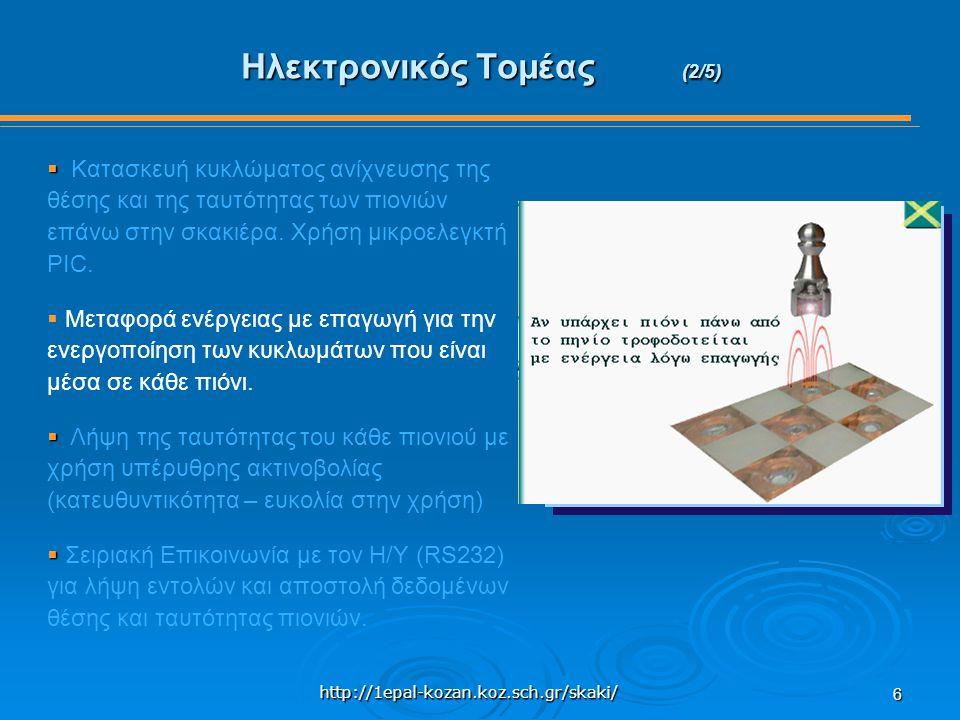 http://1epal-kozan.koz.sch.gr/skaki/ 6 Ηλεκτρονικός Τομέας (2/5)   Κατασκευή κυκλώματος ανίχνευσης της θέσης και της ταυτότητας των πιονιών επάνω στην σκακιέρα.