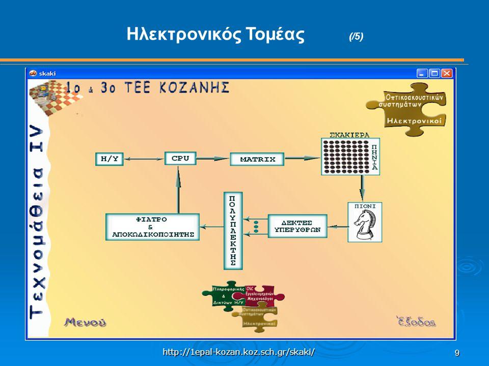 http://1epal-kozan.koz.sch.gr/skaki/ 9 Ηλεκτρονικός Τομέας (/5)