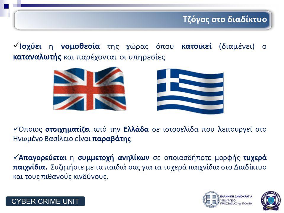 Ισχύει η νομοθεσία της χώρας όπου κατοικεί (διαμένει) ο καταναλωτής και παρέχονται οι υπηρεσίες Όποιος στοιχηματίζει από την Ελλάδα σε ιστοσελίδα που λειτουργεί στο Ηνωμένο Βασίλειο είναι παραβάτης Απαγορεύεται η συμμετοχή ανηλίκων σε οποιασδήποτε μορφής τυχερά παιχνίδια.