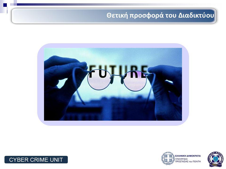 Γνώση Εκπαίδευση Πληροφορίες Γνώση Εκπαίδευση Πληροφορίες Αγορές Ταξίδια Αγορές Ταξίδια Επικοινωνία Ενημέρωση Επικοινωνία Ενημέρωση Ψυχαγωγία Διασκέδαση Ψυχαγωγία Διασκέδαση Θετική προσφορά του Διαδικτύου CYBER CRIME UNIT