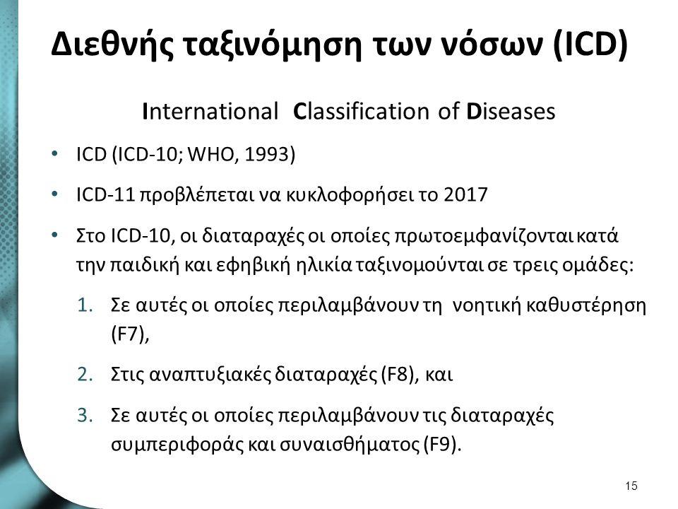 Διεθνής ταξινόμηση των νόσων (ICD) International Classification of Diseases ICD (ICD-10; WHO, 1993) ICD-11 προβλέπεται να κυκλοφορήσει το 2017 Στο ICD