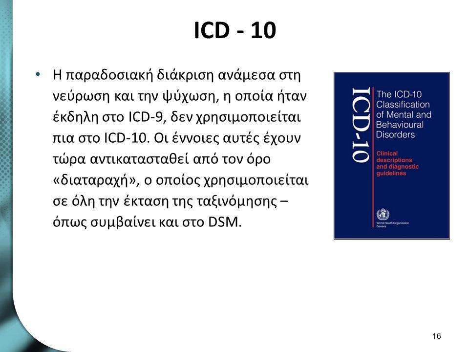 ICD - 10 Η παραδοσιακή διάκριση ανάμεσα στη νεύρωση και την ψύχωση, η οποία ήταν έκδηλη στο ICD-9, δεν χρησιμοποιείται πια στο ICD-10. Οι έννοιες αυτέ