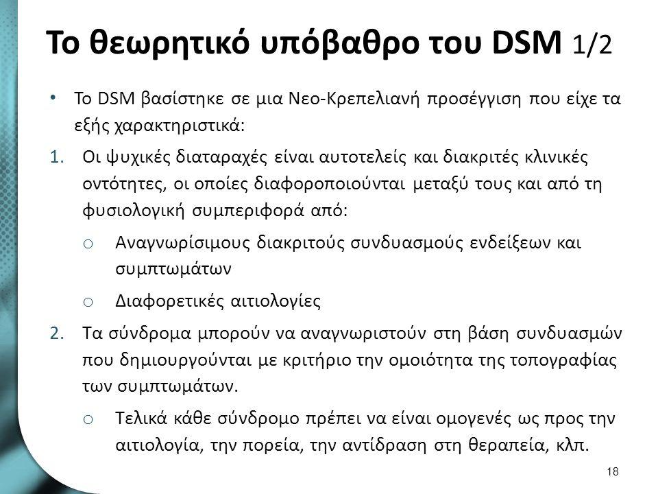 Το θεωρητικό υπόβαθρο του DSM 1/2 Το DSM βασίστηκε σε μια Νεο-Κρεπελιανή προσέγγιση που είχε τα εξής χαρακτηριστικά: 1.Οι ψυχικές διαταραχές είναι αυτ