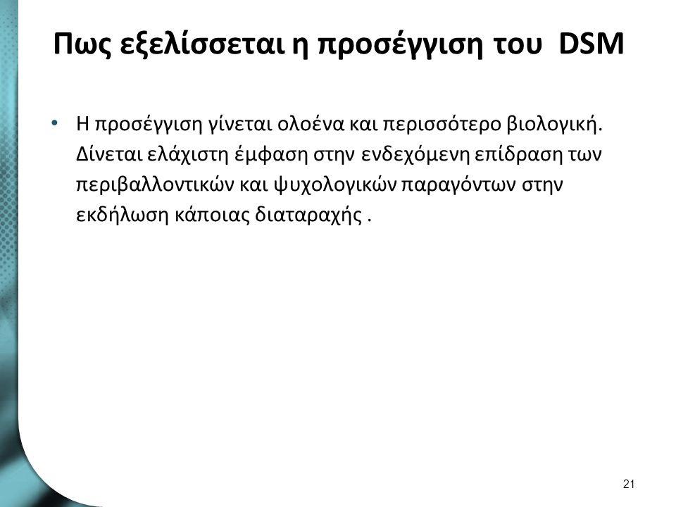 Πως εξελίσσεται η προσέγγιση του DSM Η προσέγγιση γίνεται ολοένα και περισσότερο βιολογική. Δίνεται ελάχιστη έμφαση στην ενδεχόμενη επίδραση των περιβ