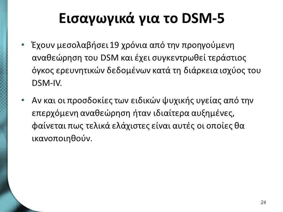 Εισαγωγικά για το DSM-5 Έχουν μεσολαβήσει 19 χρόνια από την προηγούμενη αναθεώρηση του DSM και έχει συγκεντρωθεί τεράστιος όγκος ερευνητικών δεδομένων