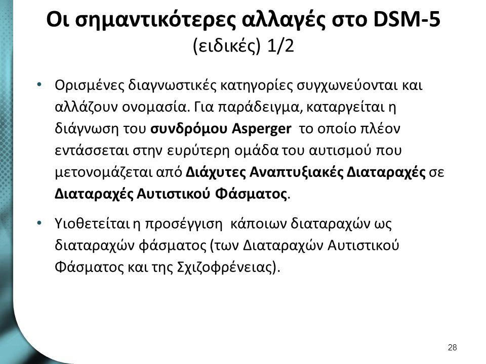 Οι σημαντικότερες αλλαγές στο DSM-5 (ειδικές) 1/2 Ορισμένες διαγνωστικές κατηγορίες συγχωνεύονται και αλλάζουν ονομασία. Για παράδειγμα, καταργείται η