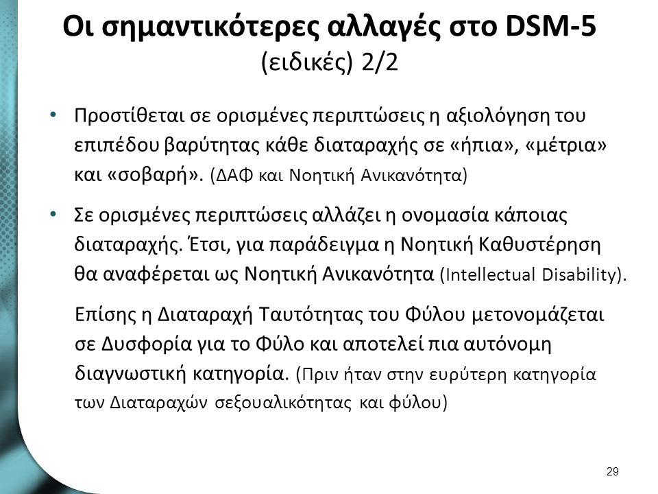 Οι σημαντικότερες αλλαγές στο DSM-5 (ειδικές) 2/2 Προστίθεται σε ορισμένες περιπτώσεις η αξιολόγηση του επιπέδου βαρύτητας κάθε διαταραχής σε «ήπια»,