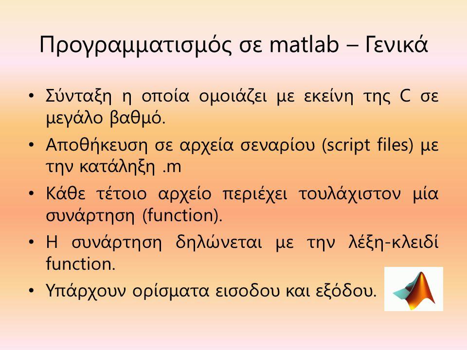 Προγραμματισμός σε matlab – Γενικά Σύνταξη η οποία ομοιάζει με εκείνη της C σε μεγάλο βαθμό.