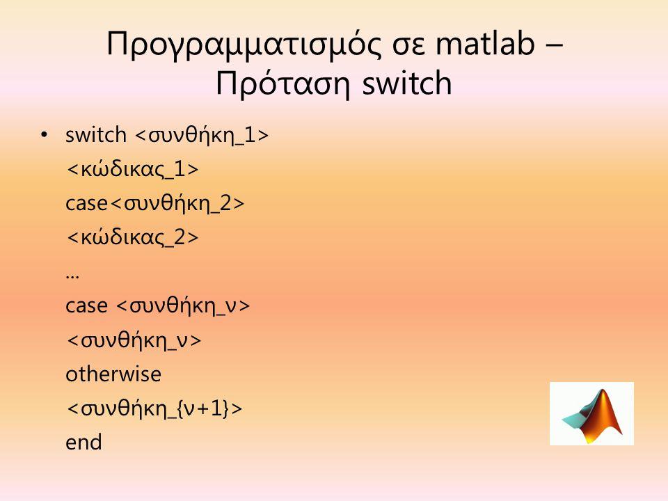 Προγραμματισμός σε matlab – Πρόταση switch switch case... case otherwise end