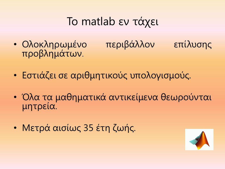 Το matlab εν τάχει Ολοκληρωμένο περιβάλλον επίλυσης προβλημάτων.
