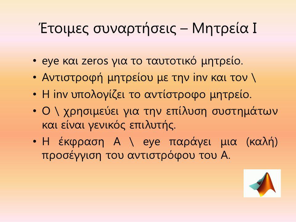 Έτοιμες συναρτήσεις – Μητρεία Ι eye και zeros για το ταυτοτικό μητρείο.