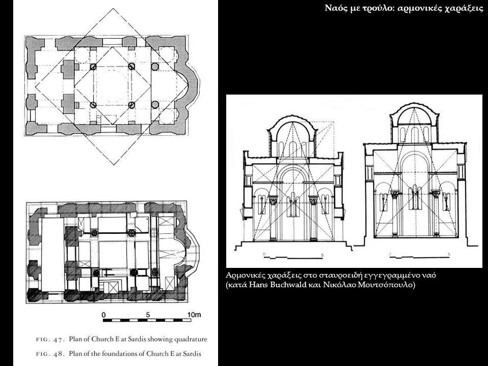 Ναός με τρούλο: αρμονικές χαράξεις Αρμονικές χαράξεις στο σταυροειδή εγγεγραμμένο ναό (κατά Hans Buchwald και Νικόλαο Μουτσόπουλο)
