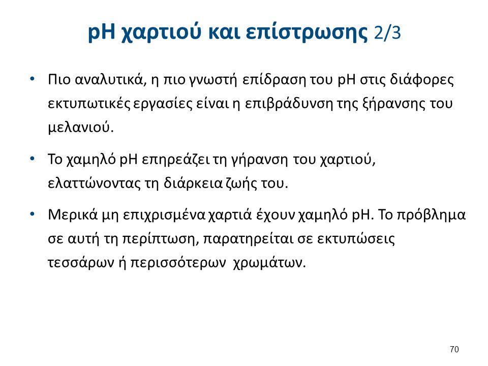 pH χαρτιού και επίστρωσης 3/3 Τα επιχρισμένα χαρτιά έχουν pH 7,5-8,0.
