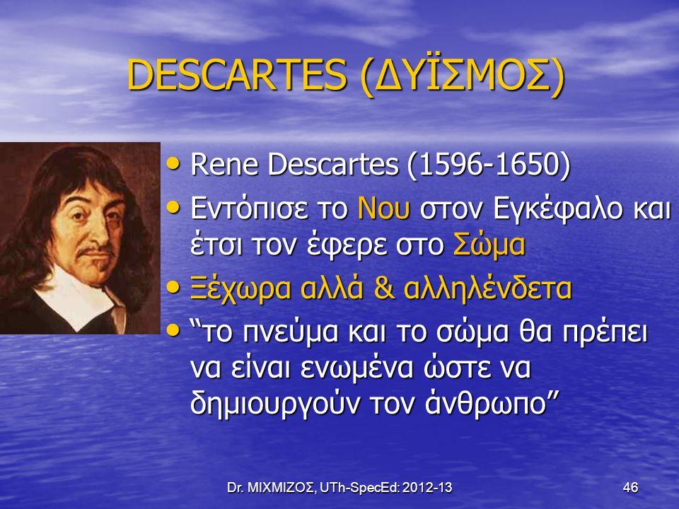 DESCARTES (ΔΥΪΣΜΟΣ) DESCARTES (ΔΥΪΣΜΟΣ) Rene Descartes (1596-1650) Rene Descartes (1596-1650) Εντόπισε το Νου στον Εγκέφαλο και έτσι τον έφερε στο Σώμ