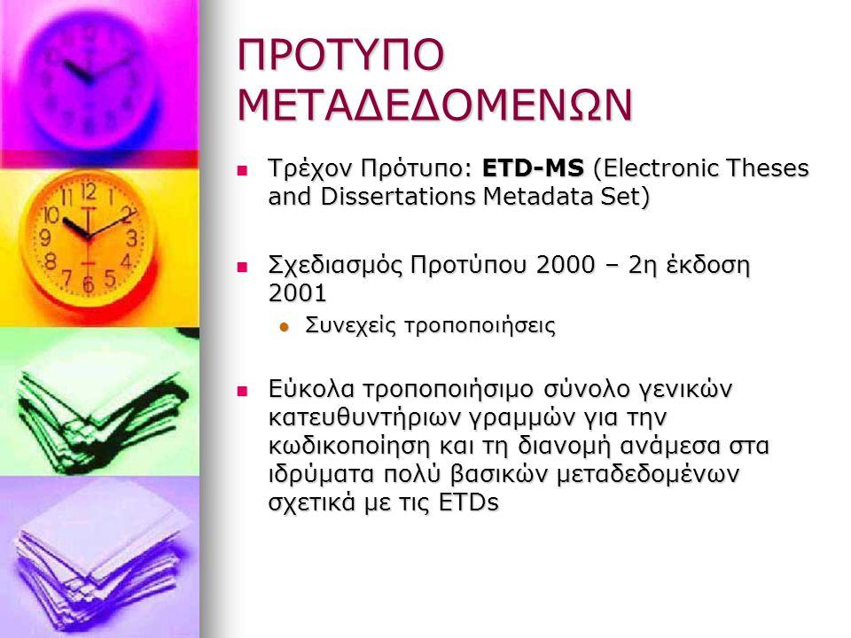 ΠΡΟΤΥΠΟ ΜΕΤΑΔΕΔΟΜΕΝΩΝ Τρέχον Πρότυπο: ETD-MS (Electronic Theses and Dissertations Metadata Set) Τρέχον Πρότυπο: ETD-MS (Electronic Theses and Dissertations Metadata Set) Σχεδιασμός Προτύπου 2000 – 2η έκδοση 2001 Σχεδιασμός Προτύπου 2000 – 2η έκδοση 2001 Συνεχείς τροποποιήσεις Συνεχείς τροποποιήσεις Εύκολα τροποποιήσιμο σύνολο γενικών κατευθυντήριων γραμμών για την κωδικοποίηση και τη διανομή ανάμεσα στα ιδρύματα πολύ βασικών μεταδεδομένων σχετικά με τις ETDs Εύκολα τροποποιήσιμο σύνολο γενικών κατευθυντήριων γραμμών για την κωδικοποίηση και τη διανομή ανάμεσα στα ιδρύματα πολύ βασικών μεταδεδομένων σχετικά με τις ETDs