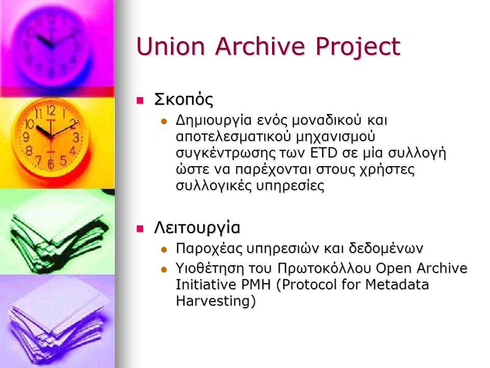 Union Archive Project Σκοπός Σκοπός Δημιουργία ενός μοναδικού και αποτελεσματικού μηχανισμού συγκέντρωσης των ETD σε μία συλλογή ώστε να παρέχονται στους χρήστες συλλογικές υπηρεσίες Δημιουργία ενός μοναδικού και αποτελεσματικού μηχανισμού συγκέντρωσης των ETD σε μία συλλογή ώστε να παρέχονται στους χρήστες συλλογικές υπηρεσίες Λειτουργία Λειτουργία Παροχέας υπηρεσιών και δεδομένων Παροχέας υπηρεσιών και δεδομένων Υιοθέτηση του Πρωτοκόλλου Open Archive Initiative PMH (Protocol for Metadata Harvesting) Υιοθέτηση του Πρωτοκόλλου Open Archive Initiative PMH (Protocol for Metadata Harvesting)