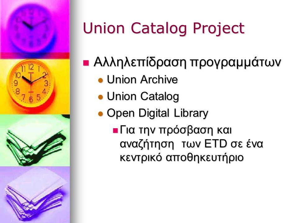 Union Catalog Project Αλληλεπίδραση προγραμμάτων Αλληλεπίδραση προγραμμάτων Union Archive Union Archive Union Catalog Union Catalog Open Digital Library Open Digital Library Για την πρόσβαση και αναζήτηση των ETD σε ένα κεντρικό αποθηκευτήριο Για την πρόσβαση και αναζήτηση των ETD σε ένα κεντρικό αποθηκευτήριο
