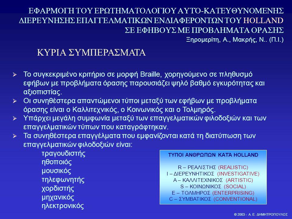 © 2003 - Α. Ε. ΔΗΜΗΤΡΟΠΟΥΛΟΣ ΕΦΑΡΜΟΓΗ ΤΟΥ ΕΡΩΤΗΜΑΤΟΛΟΓΙΟΥ ΑΥΤΌ-ΚΑΤΕΥΘΥΝΟΜΕΝΗΣ ΔΙΕΡΕΥΝΗΣΗΣ ΕΠΑΓΓΕΛΜΑΤΙΚΩΝ ΕΝΔΙΑΦΕΡΟΝΤΩΝ ΤΟΥ HOLLAND ΣΕ ΕΦΗΒΟΥΣ ΜΕ ΠΡΟΒΛ