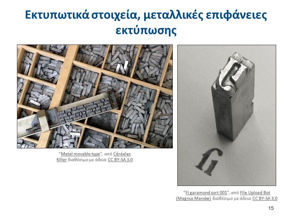 """Εκτυπωτικά στοιχεία, μεταλλικές επιφάνειες εκτύπωσης 15 """"Metal movable type"""", από Céréales Killer διαθέσιμο με άδεια CC BY-SA 3.0Metal movable typeCér"""
