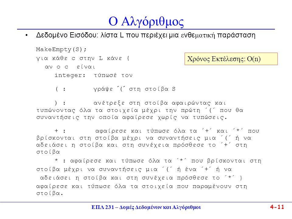 ΕΠΛ 231 – Δομές Δεδομένων και Αλγόριθμοι 4-11 Ο Αλγόριθμος Δεδομένο Εισόδου: λίστα L που περιέχει μια ε νθε ματική παράσταση MakeEmpty(S); για κάθε c στην L κάνε { αν ο c είναι integer: τύπωσέ τον ( : γράψε ´(´ στη στοίβα S ) : ανέτρεξε στη στοίβα αφαιρώντας και τυπώνοντας όλα τα στοιχεία μέχρι την πρώτη ΄(΄ που θα συναντήσεις την οποία αφαίρεσε χωρίς να τυπώσεις.