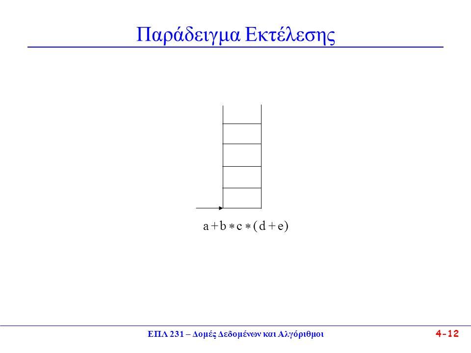 ΕΠΛ 231 – Δομές Δεδομένων και Αλγόριθμοι 4-12 Παράδειγμα Εκτέλεσης a+b * c * (d+e)
