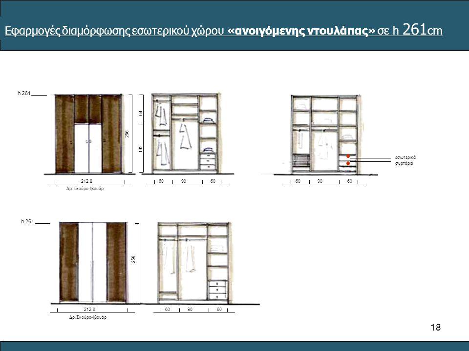 18 Δρ.Σκούρο-Ιβουάρ 212,89060 h 261 Δρ.Σκούρο-Ιβουάρ 212,89060 9060 εσωτερικά συρτάρια Εφαρμογές διαμόρφωσης εσωτερικού χώρου «ανοιγόμενης ντουλάπας» σε h 261 cm 6464 192 256
