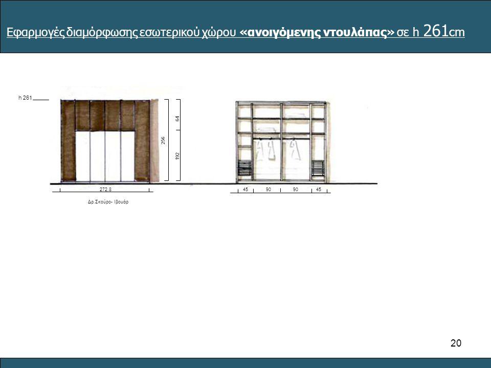 20 90 45 Εφαρμογές διαμόρφωσης εσωτερικού χώρου «ανοιγόμενης ντουλάπας» σε h 261 cm h 261 6464 192 256 Δρ.Σκούρο- Ιβουάρ 272,8
