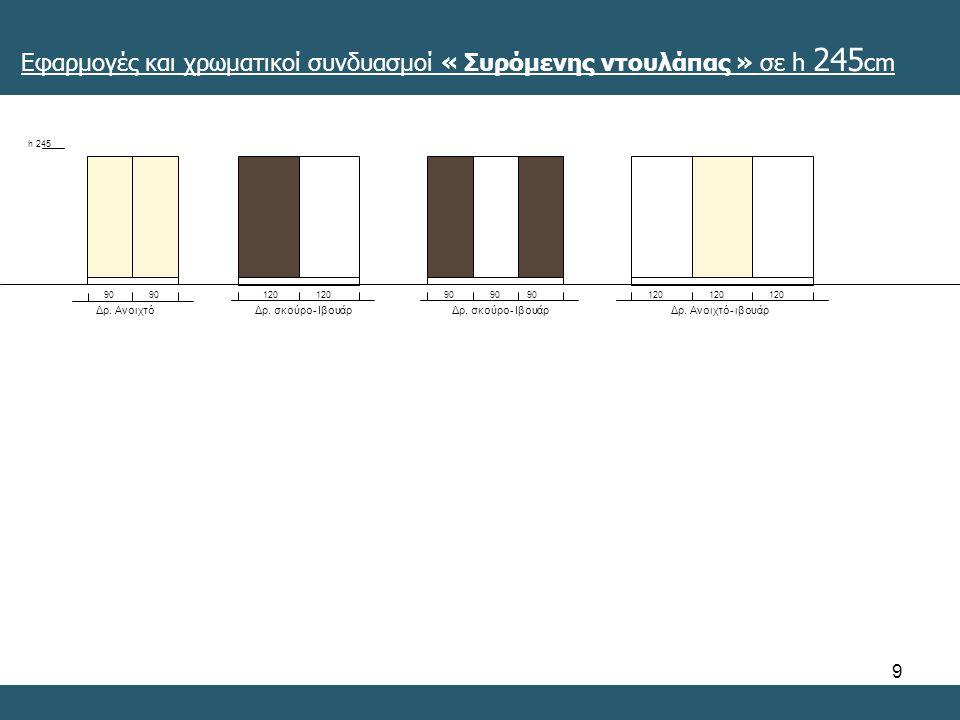 9 Εφαρμογές και χρωματικοί συνδυασμοί « Συρόμενης ντουλάπας » σε h 245 cm h 245 90 Δρ.